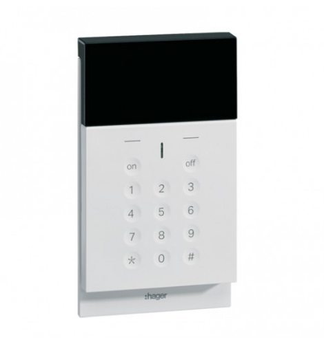 clavier de commande vocal avec écran et lecteur de badge radio sepio hager